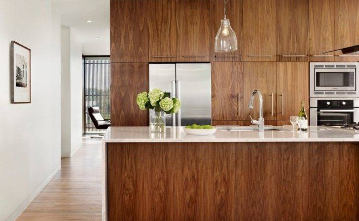 Veneer Slab Wood Doors Can Give Modern Kitchen Depth Warmth