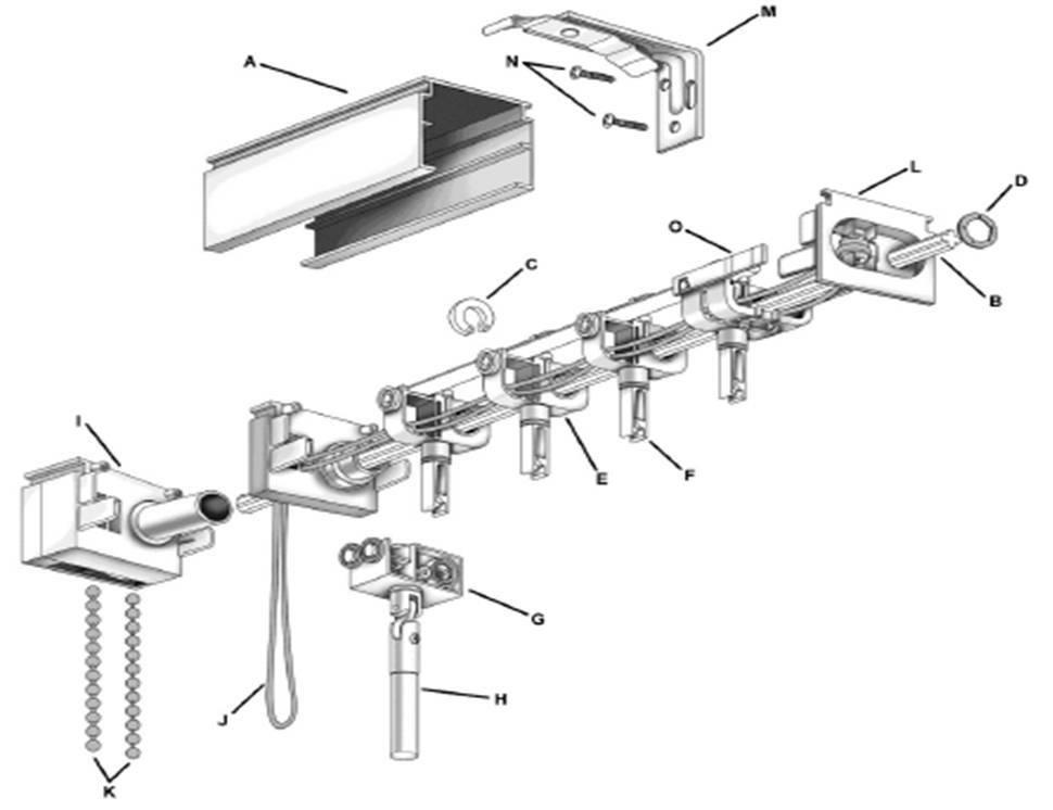 Vertical Blind Headrail Exploded Diagram