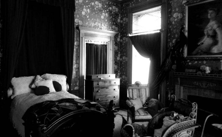 Victorian Bedroom Black White Museum Room Darkened