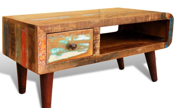 Vidaxl Antique Style Reclaimed Wood Coffee Table Curved Edge