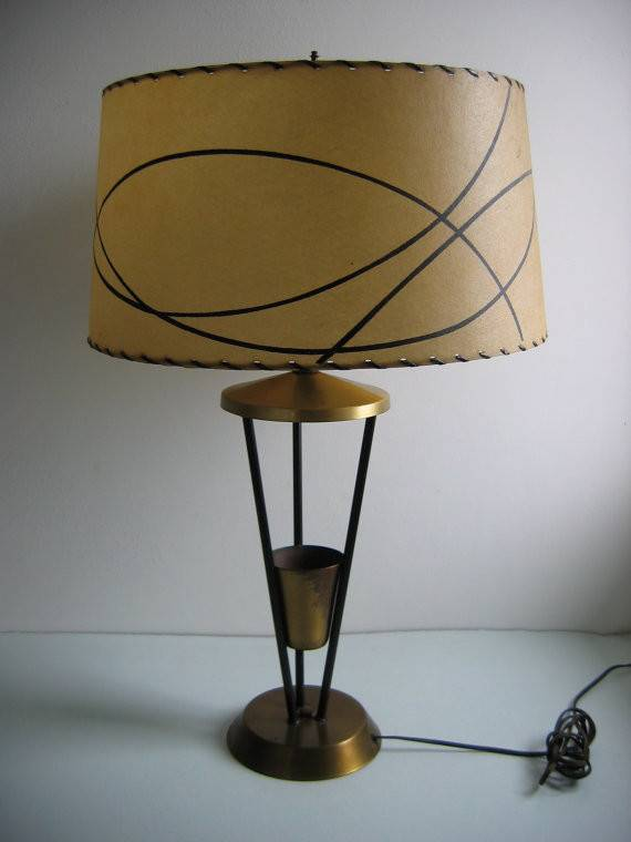 Vintage Atomic Lamp Fiberglass Shade Brass Black Metal