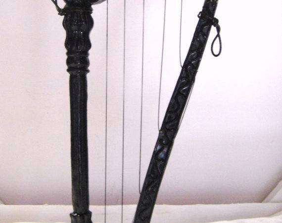 Vintage Black Wood Harp Decoration Filisvintage Etsy