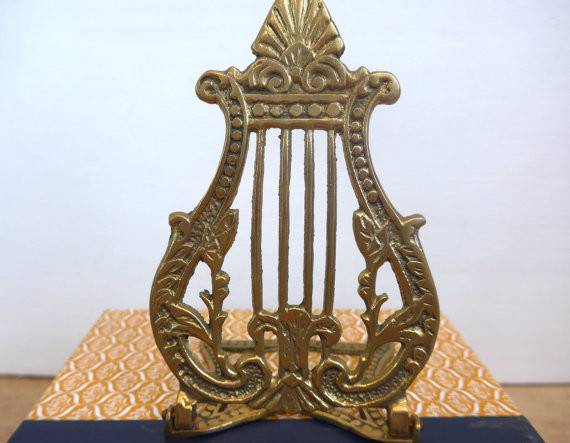 Vintage Brass Bookend Harp Decor Ornate Stand