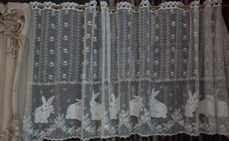 Vintage Bunny Rabbits Cotton Cafe Curtain Nottingham Lace