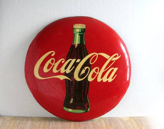 Vintage Coca Cola Sign Coke Button Goldendaysantiques