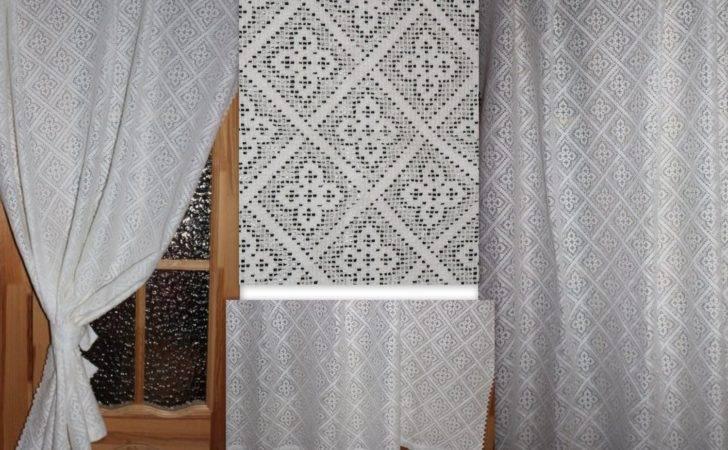 Vintage Cotton Lace Curtain Panel Shabby Chic