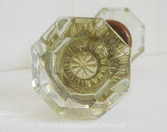 Vintage Crystal Glass Door Knob Set Sided Gold Tone Shop