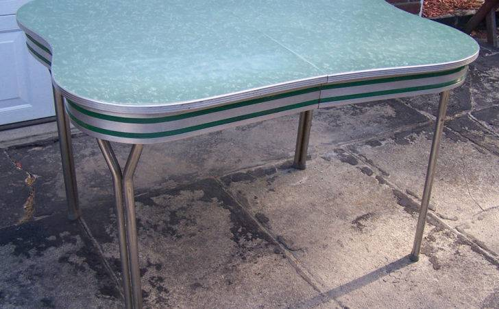 Vintage Formica Table Green Scalloped Edge Design Vguc
