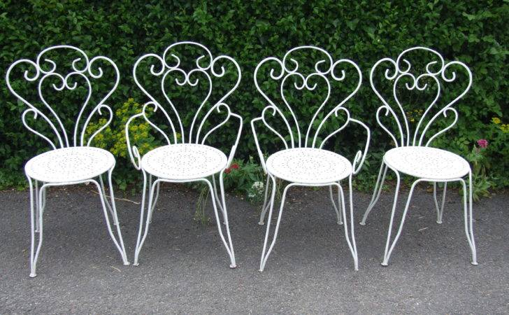 Vintage French Wrought Iron Garden Patio Caf Chairs Belle