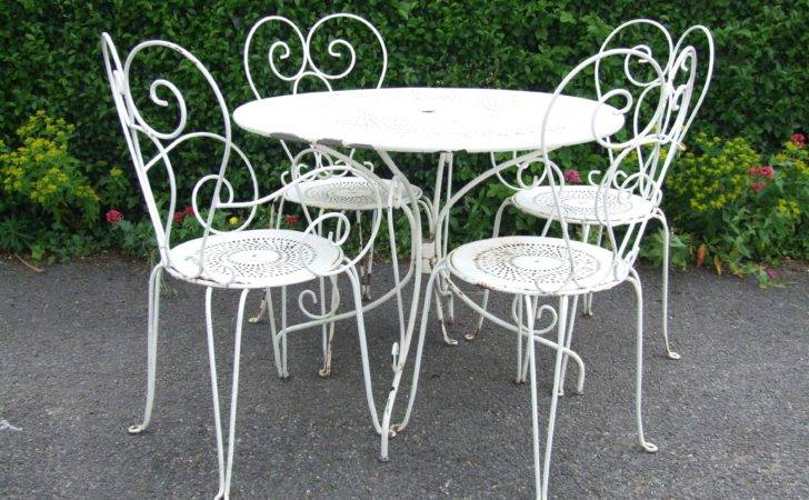 Vintage French Wrought Iron Garden Patio Caf Table Chairs