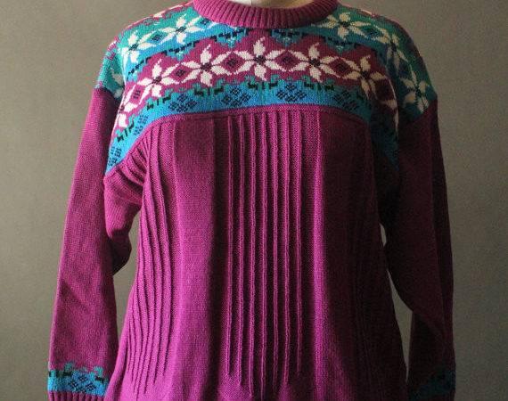 Vintage Fuchsia Turquoise Teal Snowflake Pure Vigin Wool
