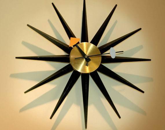 Vintage George Nelson Sunburst Clock Original Key Wound