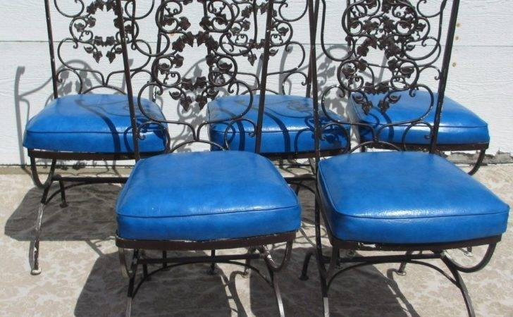 Vintage Mid Century Modern Patio Wrought Iron Chairs Cushions