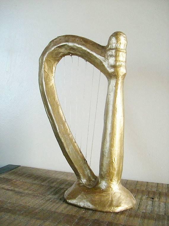 Vintage Paper Mache Harp Decoration