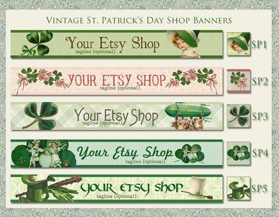 Vintage Patrick Day Etsy Shop Banner Set Your Choice