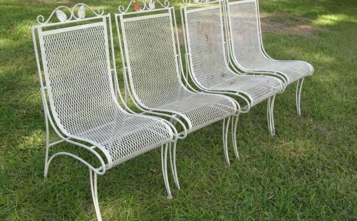 Vintage Set Heavy Wrought Iron Patio Chairs Marketsquareus