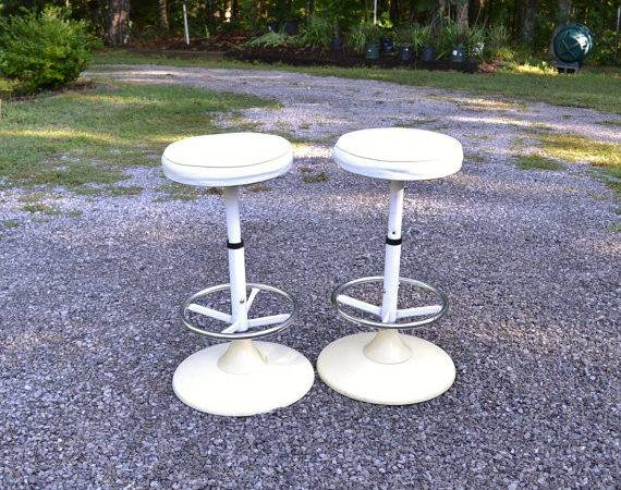 Vintage Stool Set Soda Fountain Ice Cream Parlor Mod White