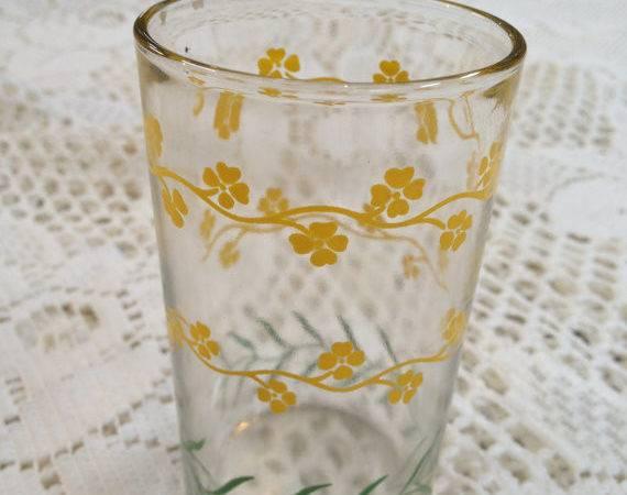 Vintage Swanky Swig Era Juice Glass Tiny Yellow Floral