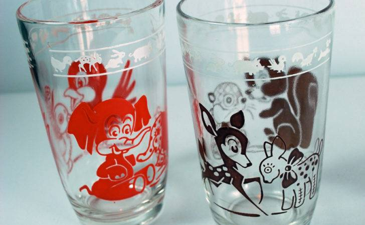 Vintage Swanky Swigs Glass Juice Cups Animal Decals Graphics