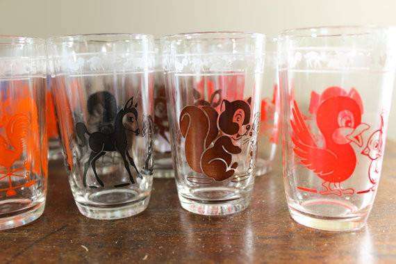 Vintage Swanky Swigs Glass Juice Cups Pick Animal Decals
