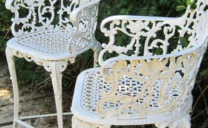 Vintage Victorian White Ornate Wrought Iron Chair Indoor Outdoor