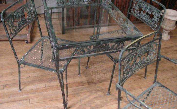 Vintage Wrought Iron Garden Set Two Tables Eight Chairs