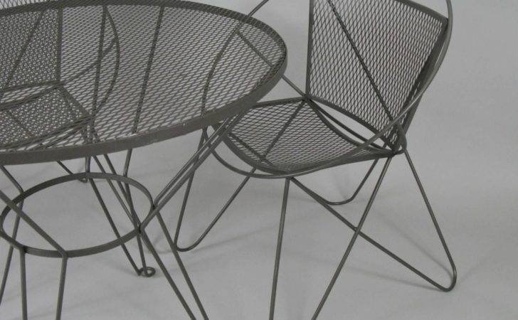 Vintage Wrought Iron Garden Table Chairs Woodard