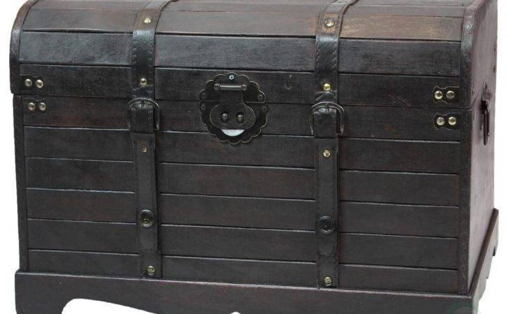 Vintiquewise Antique Style Black Wooden Steamer Trunk