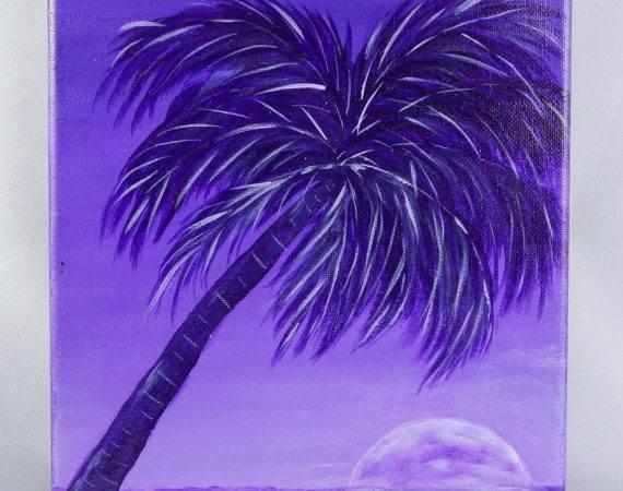 Violet Ocean Beach Scene Moonlight Monochromatic Painting