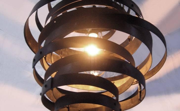 Vortex Recycled Steel Wine Barrel Hoops Light Fixture