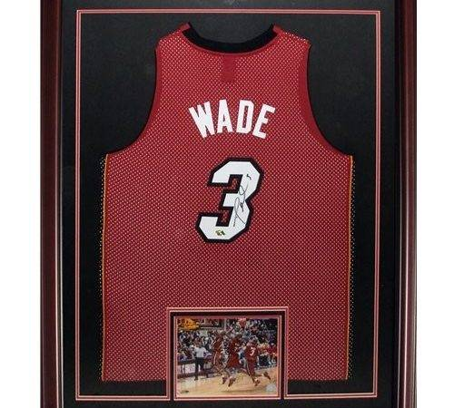 Wade Autographed Miami Heat Red Deluxe Framed Jersey Dwade Holo