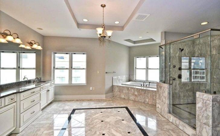 Walk Shower Well Grey Gloss Marble Floors Installations