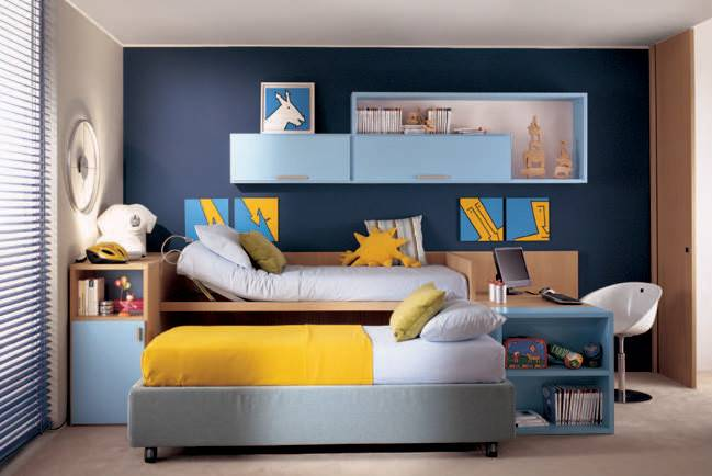 Wall Color Kids Room Yellow Bed Cover Boys Colors