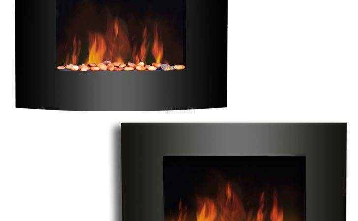 Wall Mounted Electric Fireplace Black Curved Glass Heater Flame Effect