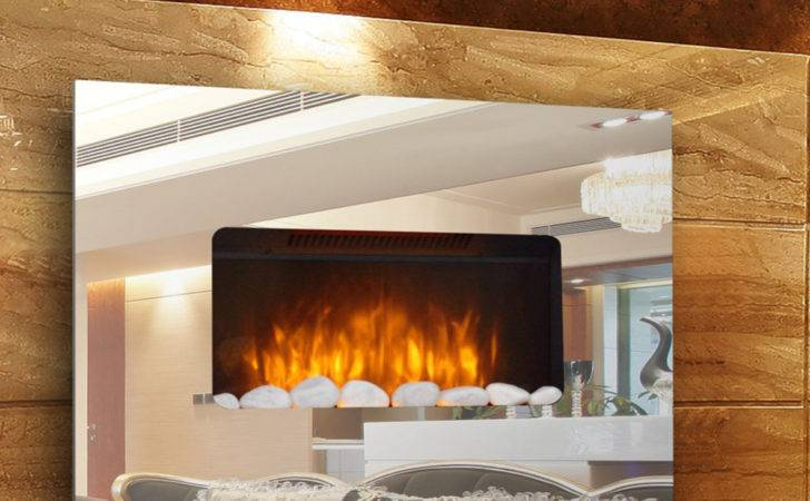 Wall Mounted Electric Flicker Flame Mirror Glass Fire Fireplace Ebay