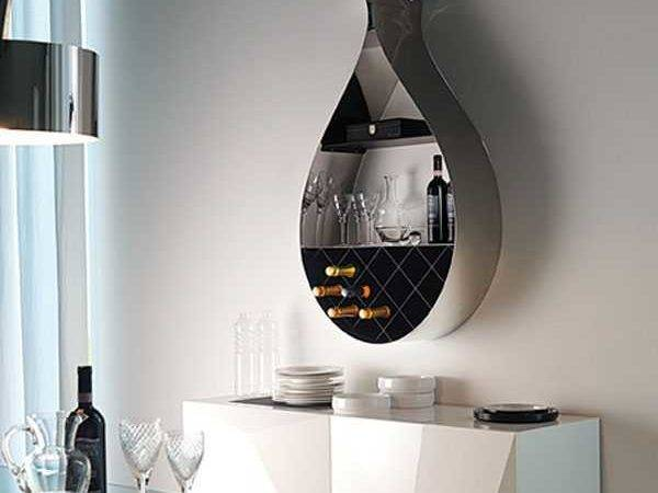 Wall Mounted Wine Rack Adds Seducing Drop Shaped Design Dining Room