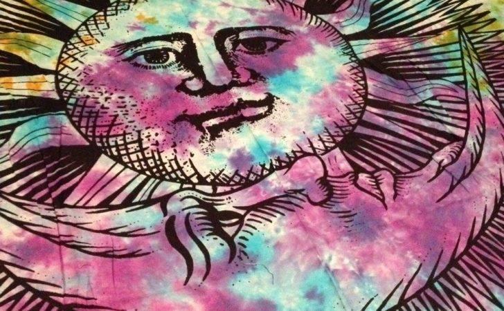 Wall Sized Tapestry Sun Moon Tie Dye
