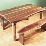 Walnut Dining Room Live Edge Rustic Table Bench Set Hand Made Usa