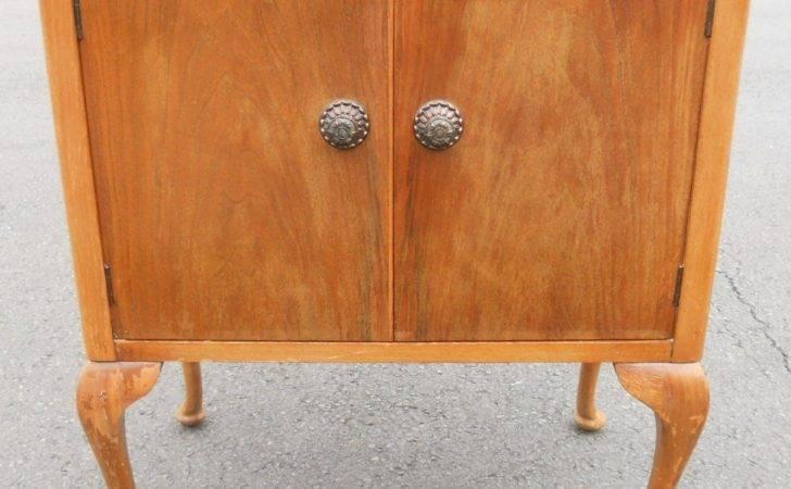 Walnut Record Storage Cabinet