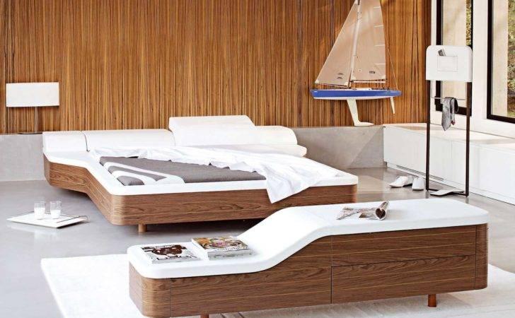 Walnut White Unusual Platform Bed Cover Modern Design Olpos