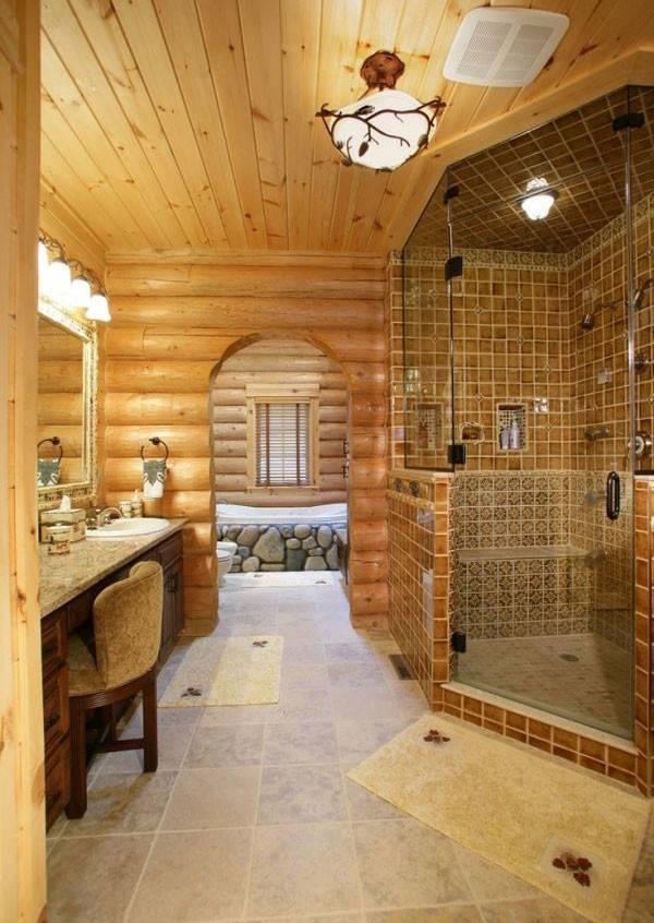 Warm Cozy Log Bathroom Design Ideas