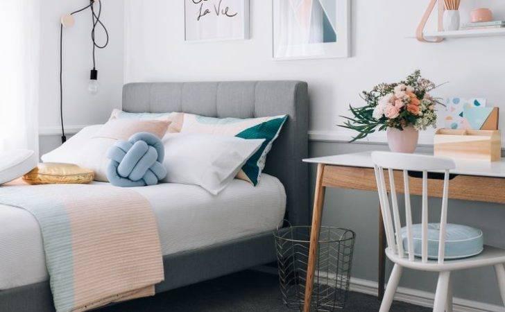 Warm Pastel Scandinavian Style Bedroom Eyebrow Makeup