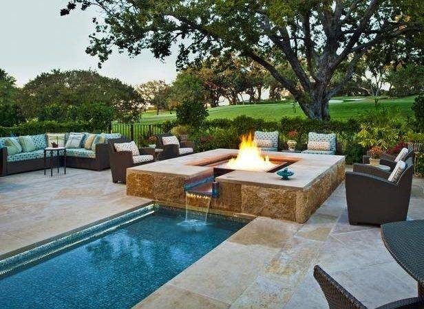 Waterfall Pool Fire Pit Combination More