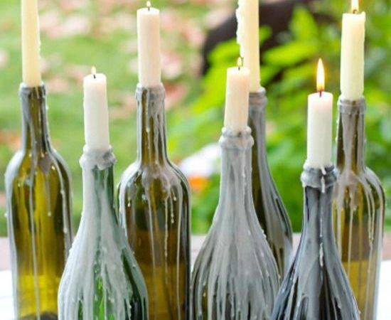 Wax Dripped Wine Bottle Candles Centerpieces Dinner Tables