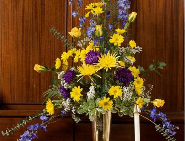 Wedding Flower Arrangement White Yellow Purple Flowers