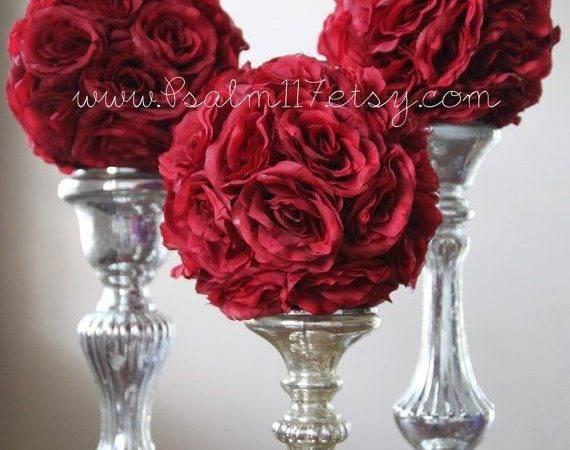 Wedding Pomanders Choose Ribbon Colors Burgundy Wine Maroon