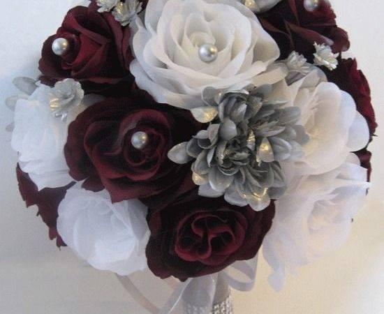 Wedding Silk Flower Bouquet Bridal Package Burgundy Silver Gray
