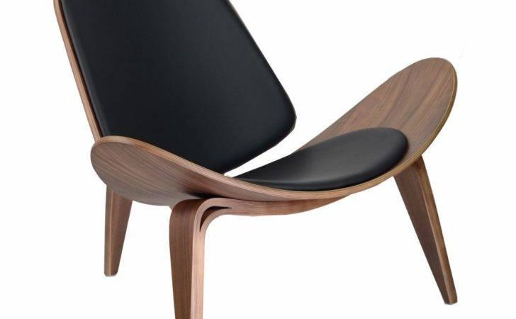 Wegner Shell Style Chair Black Leather Walnut Single