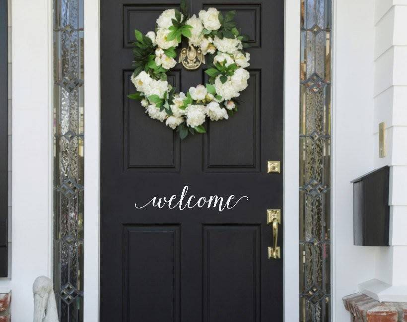 Welcome Door Vinyl Decal Front Sticker