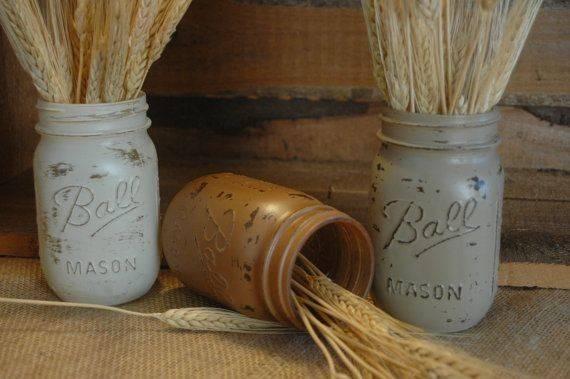 Wheatfield Pint Painted Mason Jar Pineknobsandcrickets